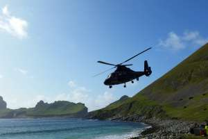 Reaching St. Kilda by helicopter